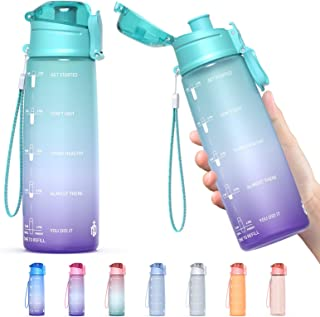 Y&3 32oz Motivational Fitness Sports Water Bottle With Time Marker, BPA Free Tritan Plastic, Leakproof Flip Top, For Gym, ...