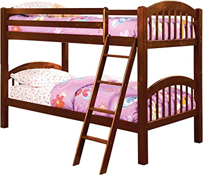 Benjara Traditional Wooden Twin Bunk Bed with Picket Fence Design, Brown