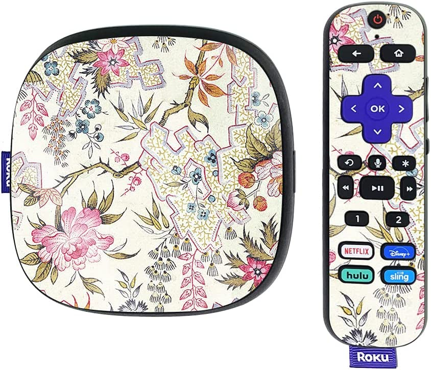 MightySkins Glossy Glitter Skin Compatible with Roku Ultra HDR 4K Streaming Media Player (2020) - Floral Design   Protective, Durable High-Gloss Glitter Finish   Easy to Apply   Made in The USA