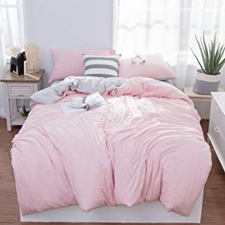 LIFETOWN Jersey Knit Cotton Duvet Cover Queen, 1 Duvet Cover and 2 Pillowcases, Reversible Striped Duvet Cover Set, Extremely Soft and Breathable (Full/Queen, Pink/Grey Stripes)