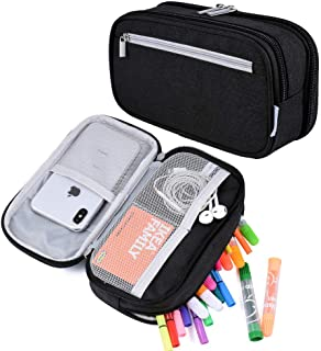 Pencil Case, Large Capacity Pen Case Holder Pencil Bag Pouch Marker Organizer Cosmetic Make Up Cable Bag Pouch with Multi Compartments for Boys Girls Middle High School Students Office Adults, Black
