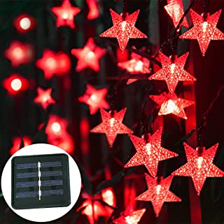 Windpnn Solar Star String Lights Outdoor, 30.6 ft 50 LED Waterproof Solar String Lights for Christmas Wedding Party Patio Decorate Lights (Red)