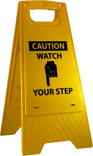 NMC HDFS213 CAUTION-WATCH YOUR STEP Sign with Graphic– 10.75 in. x 24.63 in. Heavy-Duty Plastic, Double-Sided Floor S...