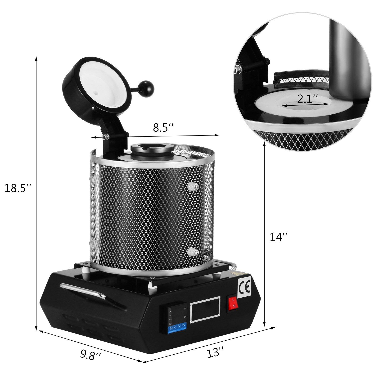 Autovictoria 1KG horno de fundición de oro 1150℃ Digital horno de ...