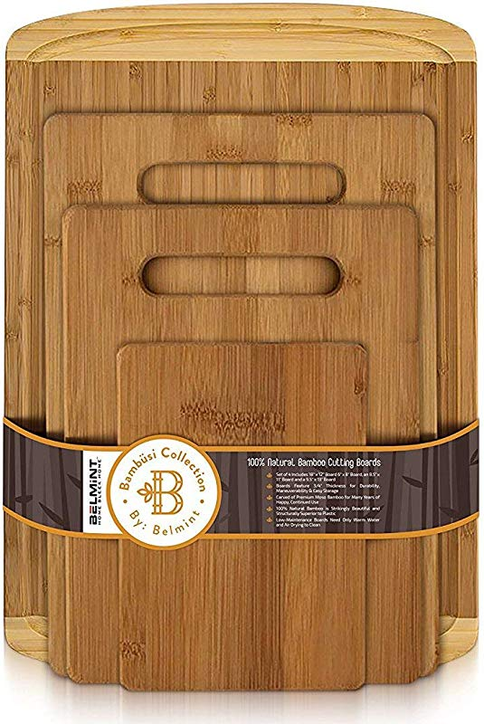 Bamboo Cutting Board Set Of 4 Wood Chopping Boards With Juice Groove For Cutting Vegetables Meat Fruits And Cheese 100 Bamboo Craftsmanship Renewed