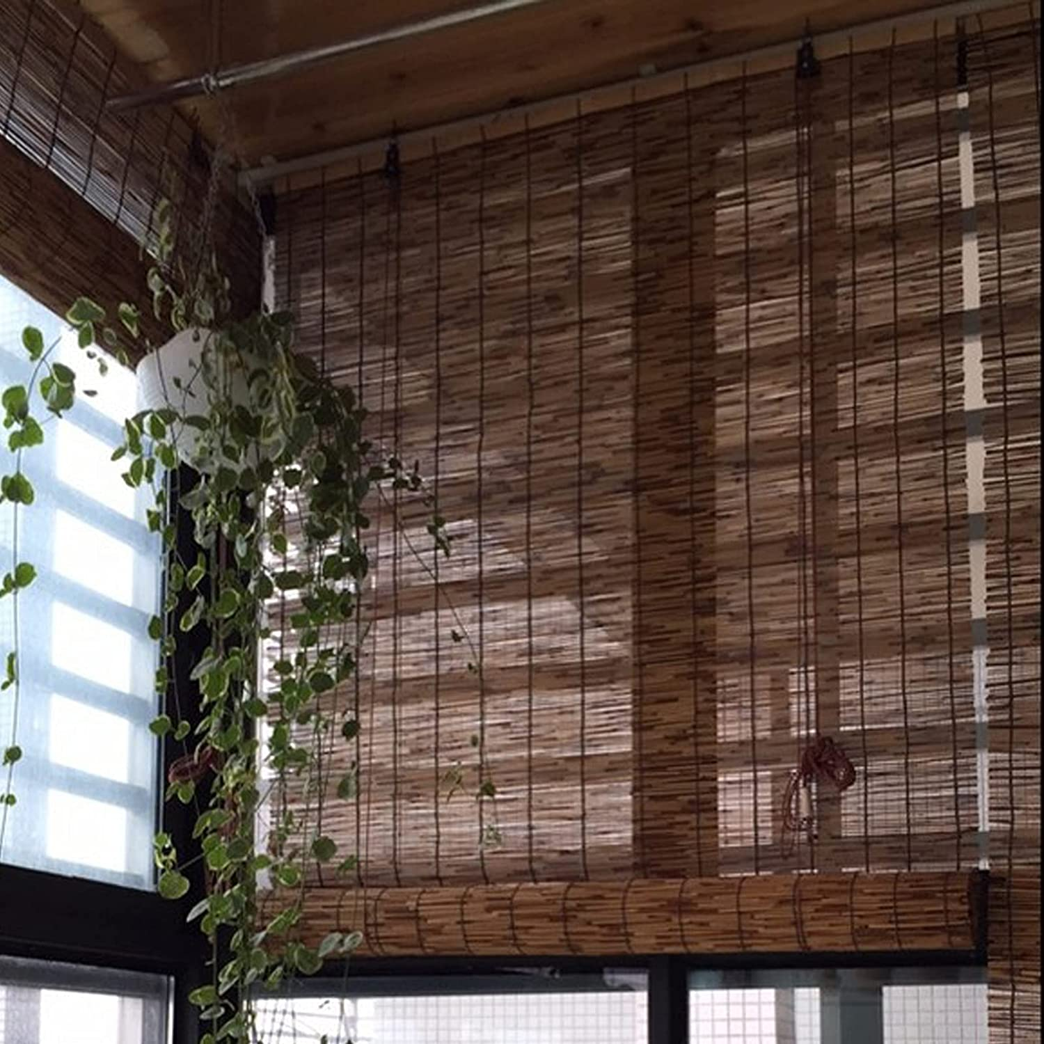 Retro Decorative Roll-Up Reed Shade Roller Bamboo Tucson Mall lowest price Bli Wild Straw