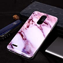 Mobile phone case Marble Pattern Soft TPU Case For LG K8 (2018)(Plum Blossom) (Color : Purple)