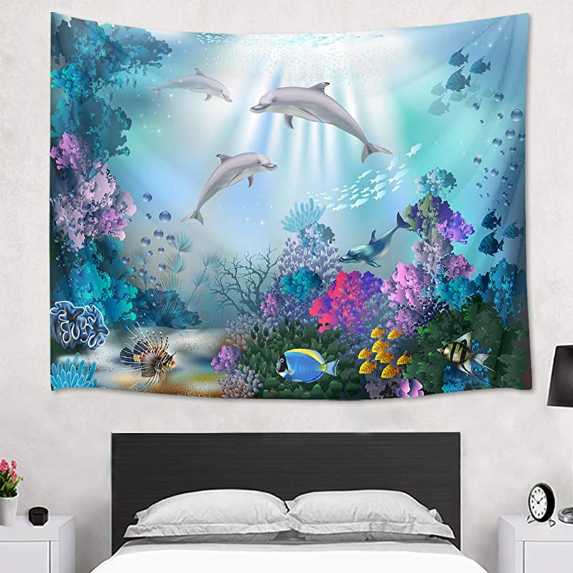 HVEST Dolphin Tapestry Tropical Fish and Coral Reef Wall Hanging Fantasy Ocean Tapestries for Kids Bedroom Living Room Dorm Wall Decor Birthday Party Backdrop,80Wx60H inches