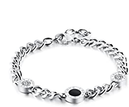 Ablaze Jin jewelry Ms. Titanium Roman numerals round pie-Diamond Rose Gold Bracelet