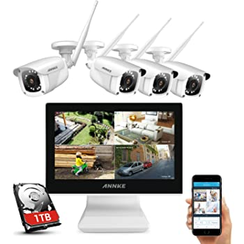 ANNKE Kit de Seguridad WiFi 4 Cámaras 1080P Sistema de Vigilancia Inalámbrica 8CH HD NVR 10 inch LCD Monitor Pantalla con 1TB Disco Duro CCTV IP66 Impermeable Visión Nocturna - 1TB HDD