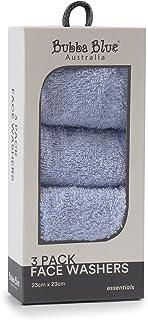 Bubba Blue Everyday Essentials Face Washers 3 Piece Set, Blue, 3 piece