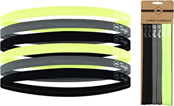 Thin Sports Headbands - 6 Pack No Slip Elastic Skinny Athletic Hair Bands for Men Women Boys & Girls - Mini Head Band for Soccer, Workout, Running, Exercise, Volleyball & Yoga - Non Slip Silicone Grip