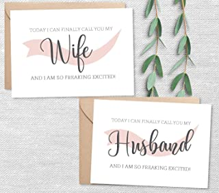 Set of 2, To My Husband and Wife on My Wedding Day Card Set, 2 Color Options