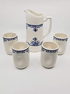 New 6 Adorable Blue /& White Flower Striped /& Polka Dot Cows Cow Porcelain Creamer Serving Pitcher