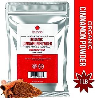 Organic Cinnamon Powder 1 Pound, Freshly Ground Korintje Cinnamon Powder, Promotes Healthy Metabolism and Blood Sugar, Non-GMO & Kosher, Bulk in Resealable Bag