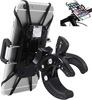 Bike Phone Mount, Bicycle Motorcycle Handlebar Cell Phone GPS Holder 360 Degrees Rotatable Cradle with Rubber Strap Clamp, Compatible with All Smartphones