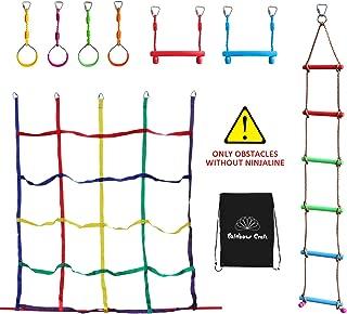 Rainbow Craft Ninja Climbing Attachments for Ninja Obstacle Course - Outdoor Kids Play, 4pc Ninja Rings, 2pc Ninja Trapeze Bars, Climbing Ladder and Ninja Cargo Net