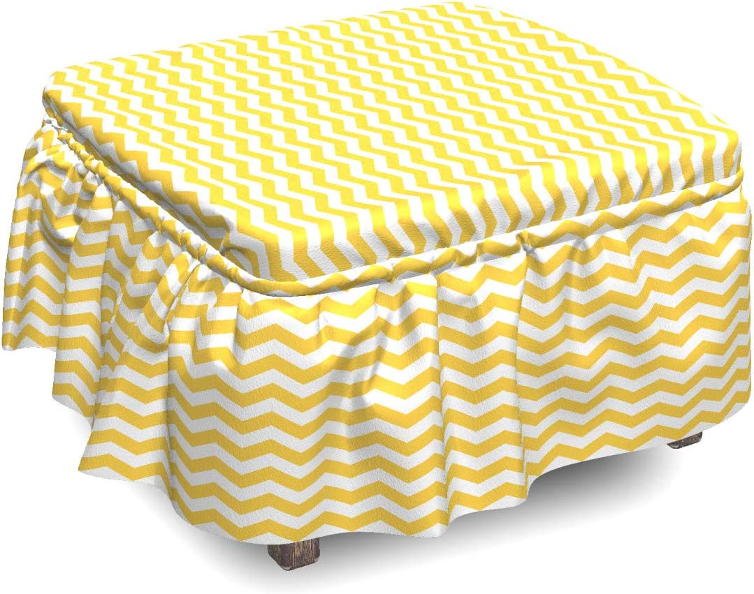 Ambesonne Yellow Manufacturer regenerated product shipfree Chevron Ottoman Cover P 2 Wavy Art Horizontal