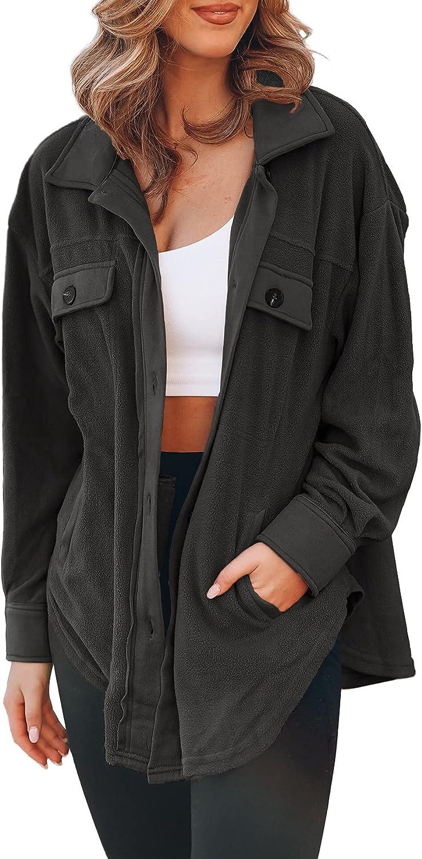 FACDIBY Women's Fleece Cardigan Long Sleeve Oversized Sherpa Jacket Button Down Lapel Winter Coats with Pockets