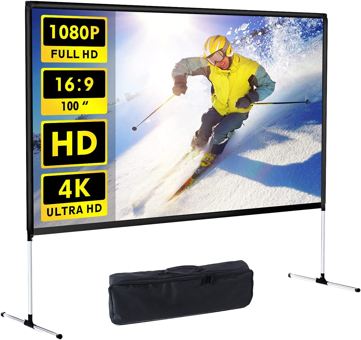 Projector Screen with Stand 100 inch 4K HD 16: 9 Indoor Outdoor Home Theater Backyard Cinema Wrinkle-Free Design and Carry Bag Projection for Movie, Meeting