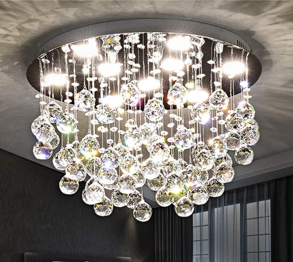 Y&ax saint mossi modern k9 crystal chandelier flush mount led lampada 865-111-370