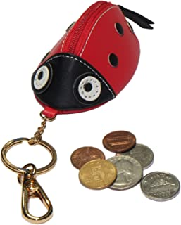 Animal Zipped Coin Purse with Keychain (Red Ladybug)
