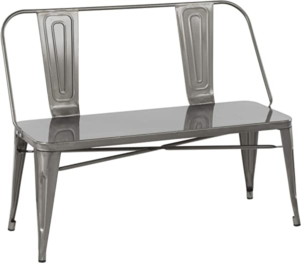 LumiSource Industrial Metal Dining Bench In Clear Brushed Silver Finish
