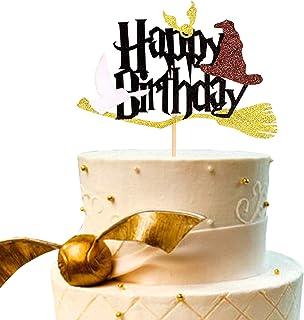 Ercadio 1 Pack Wizard Happy Birthday Cake Topper Black Glitter Harry P Inspired Cake Picks Wizard Themed Kids Birthday Par...