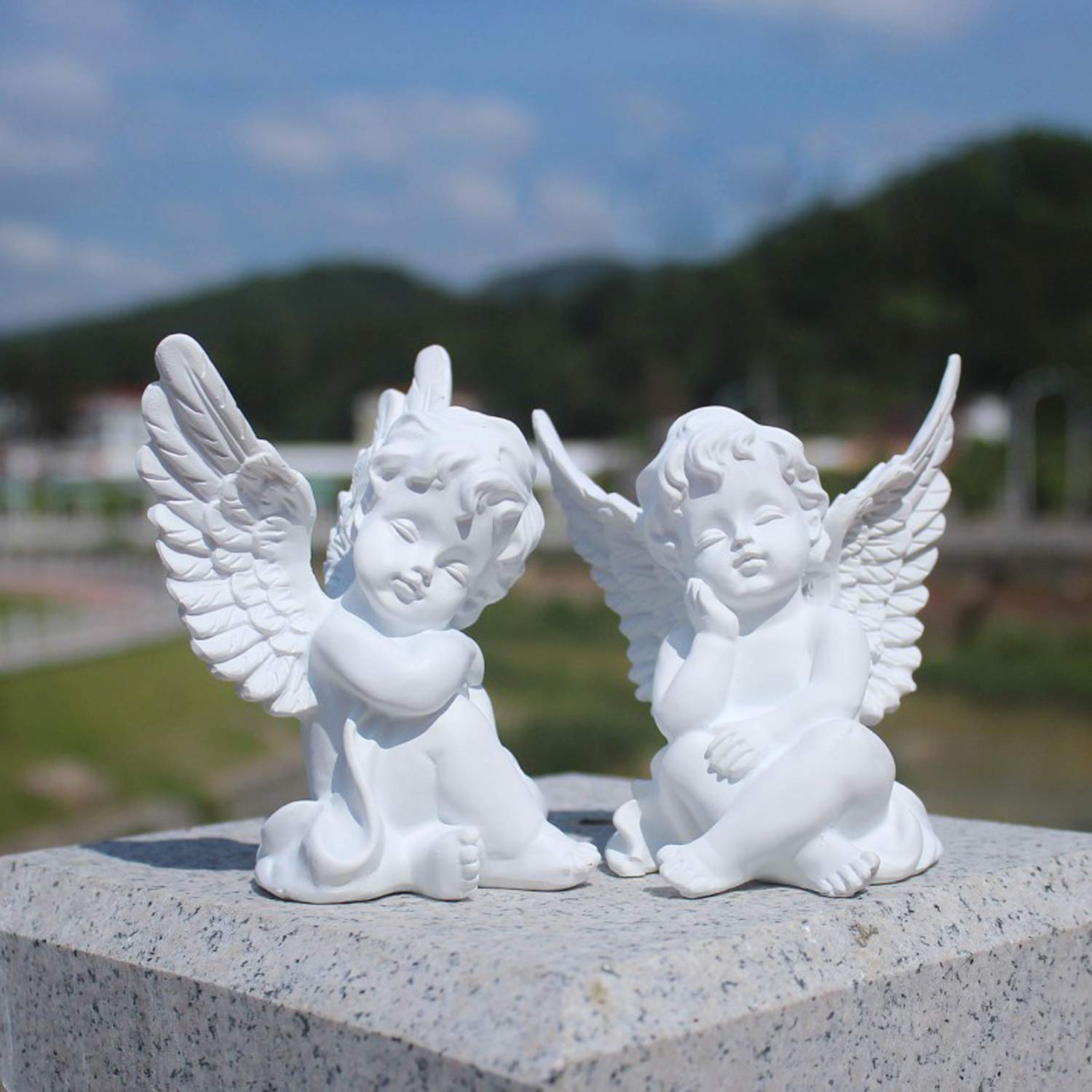 Middle-England Set of 2 Sitting Cherubs Angels 24cm Silver Electroplated Resin Sculpture Shelf Sitters