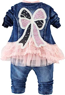 Spring Autumn Infant Baby Girls Clothing Set 3 Pieces Sets T Shirt Sequins Jacket and Jeans