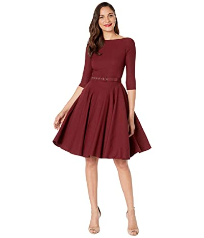 Unique Vintage 1950s Style Stretch Sleeved Devon Swing Dress (Burgundy) Women