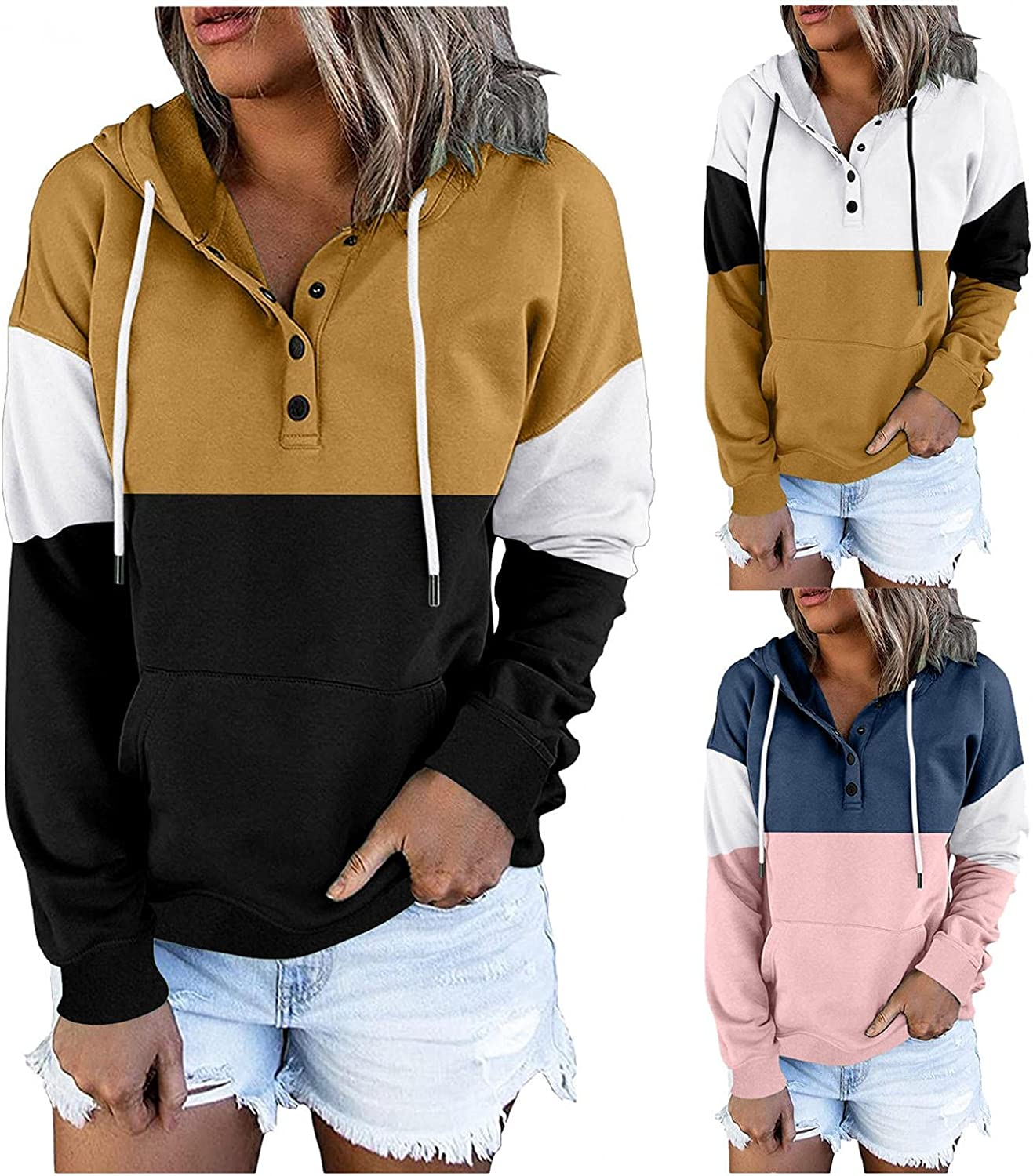 Hoodies for Women with Designs Aesthetic, Womens Fashion Workout Tops Button Collar Long Sleeve Sweatshirts Pullover