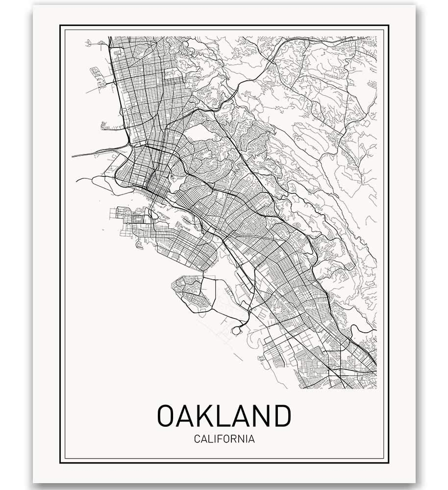 Oakland Poster Map of Modern City Posters Max 59% Ranking TOP15 OFF Ar