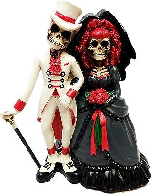 """Day of the Dead Dia De Los Muertos Skeleton Bride Groom Resin 12/"""" Statue"""
