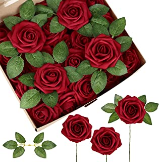 InnoGear Artificial Flowers, 50 Pcs Faux Flowers Fake Flowers Dark Red Roses Perfect for DIY Wedding Bouquets Centerpieces...