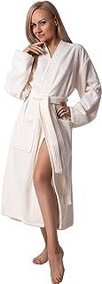 Women's Robe, Turkish Cotton Soft Terry Kimono Bathrobe, Cream, X-Large