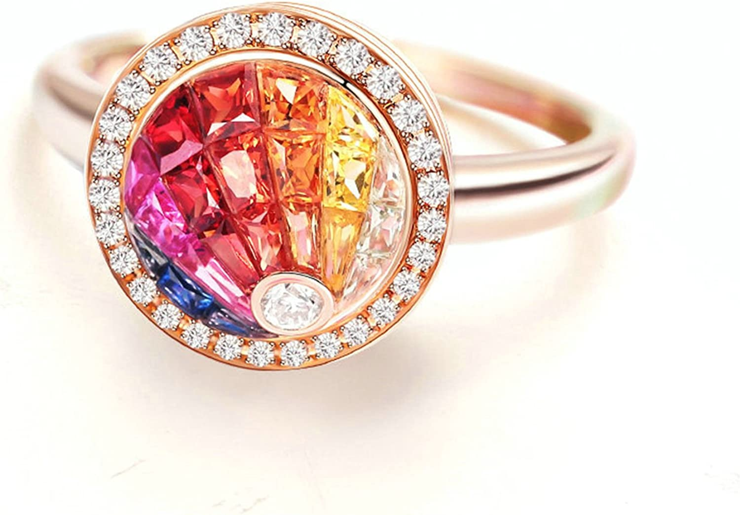Aokarry Fine Engagement Ring Fees free!! Albuquerque Mall 18K Sapp Natural Rose Colored Gold