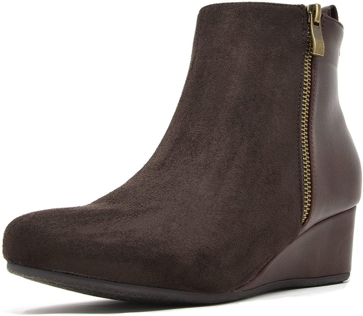 DREAM PAIRS Women's Cinq Low Wedge Heel Ankle Boots