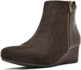 DREAM PAIRS Women's Narie-New Suede Low Wedges Ankle Boots
