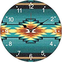 Southwest Tribal Geometric Diamond Turquois Modern Simple Wooden Wall Clock Silent Non-Ticking Wood Clock for Living Room Home Office 12 Inches