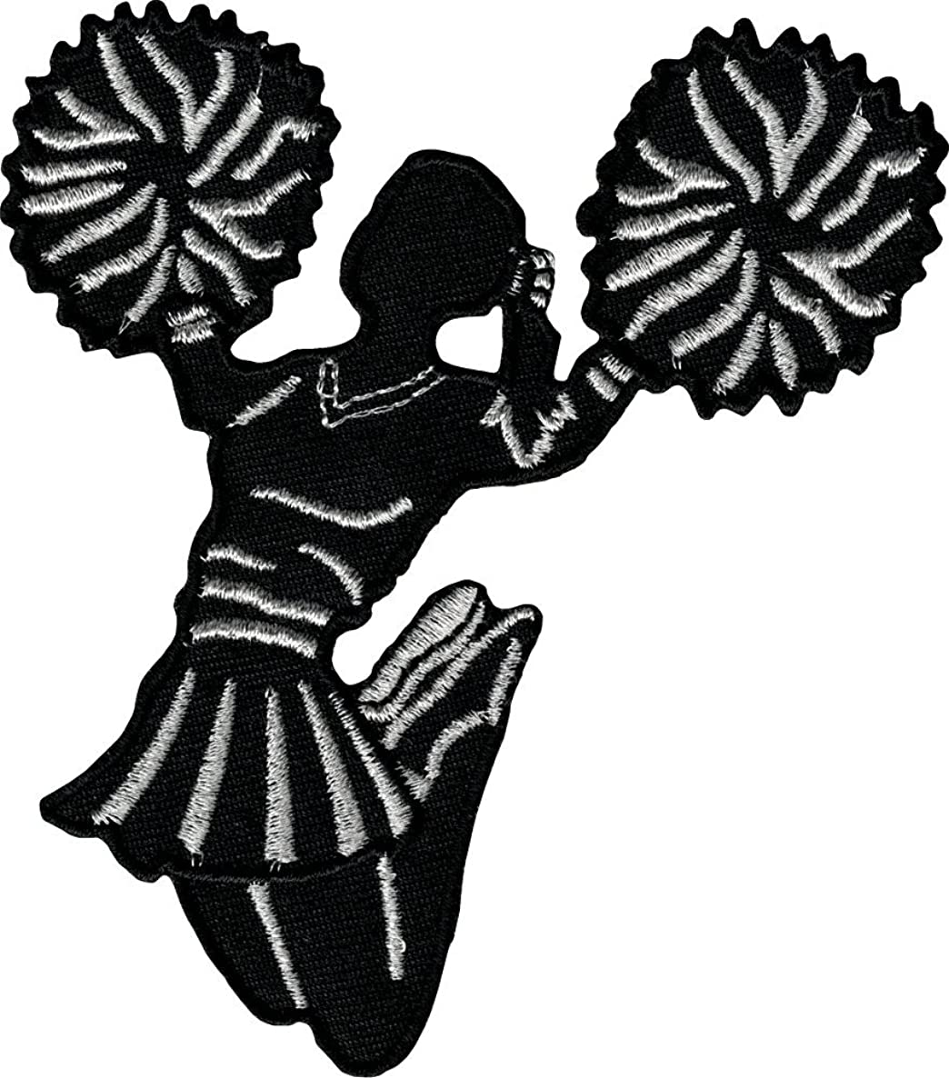 Jumping Cheerleader Silhouette Cutout - Holding Pom Poms with Silver Accents - Embroidered Iron On or Sew On Patch