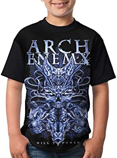 Kmehsv Niño Camisetas de Manga Corta, Arch Enemy T Shirts Youth Round Neck Shirt Teenager Boys Personality Tees