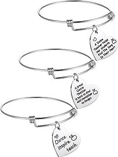 3 Pieces Dance Teacher Jewelry Bracelet Bangle Gift Expandable Engraved Steel Bangle Bracelet for Women Dance Teacher