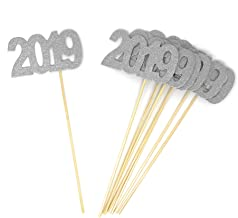 8 pack of Silver Double Sided Glitter 2019 Centerpiece Sticks in Various Colors for DIY Graduation and New Years Decor (Silver)