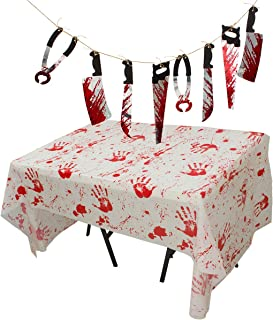 Alphatool Halloween Scary Bloodstained Handprints Table Cloth Table Cover+Realistic Bloody Butcher Knife Chainsaw Weapons ...