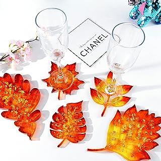 otutun Décoration Coaster Faisant Outils Moule, 5 Pièces d'Érable Moulage de Sous-Verres DIY Moules en Silicone en Résine ...