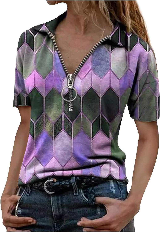 AODONG T-Shirts for Women Summer Short Sleeves V Neck Tees Shirts Blouse Casual Henley Shirts