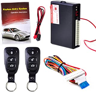 beler Universal Car Door Lock Vehicle Keyless Entry System Auto Remote Central Kit 2 Remote Controllers