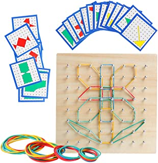Wooden Geoboard Mathematical Manipulative Material Array Block Geo Board – Graphical Educational Toys with 24Pcs Pattern Cards and Rubber Bands Shape STEM Puzzle Matrix 8x8 Brain Teaser for Kid
