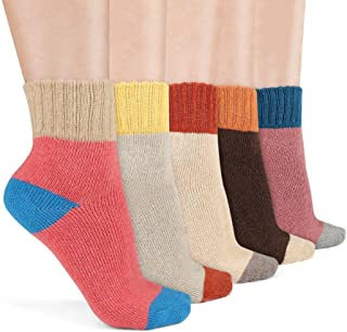Airsspu 5 Pairs Women's Fashion Multicolor Warm Winter Thick Knit Soft Crew Wool Casual Cozy Socks